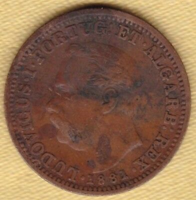 Portuguese India Copper 1/8 Tanga 1881 #c82