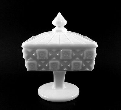 Westmoreland OLD QUILT Milk Glass Footed Candy Dish with Lid