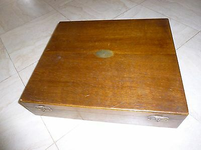 Vintage Collectable Large Wooden Oak Canteen  Of Cutlery Box Wood Storage Box