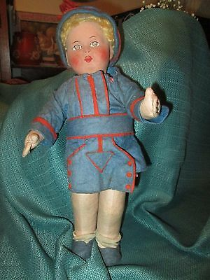 "Antique German Doll *paper mache"" head cloth body * 14"""
