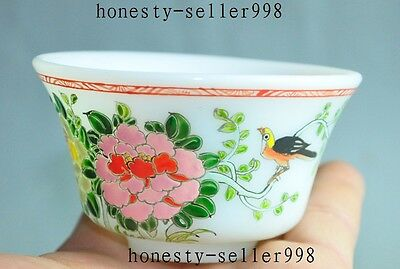 old chinese Exquisite Glass Colored glaze flower bird lucky statue cup Bowl