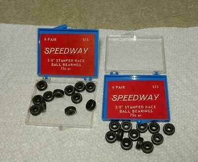 """12 Pr Vtg Slot Car 3/8"""" SpeedWay Stamped Race Ball Bearings for 1/8"""" Axle NOS"""