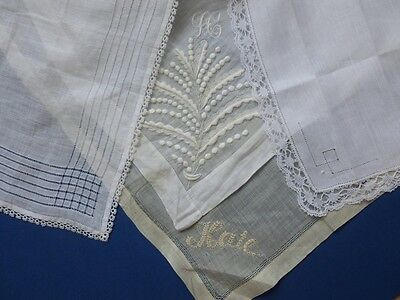 Four Antique Handkerchiefs With Hand Embroidery & Lace, Two Are Victorian