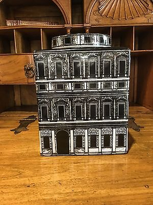 Large ceramic square ginger jar in the Fornasetti style