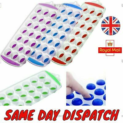 UK HOT Ice Cube Tray Easy Pop out Maker Plastic Silicone Top Mould 21 Jelly