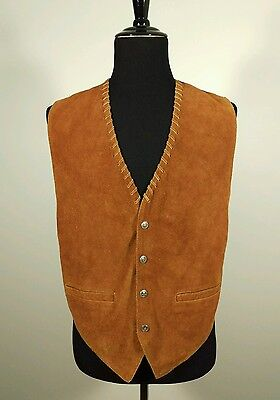 Mens T.F.C. EXPRESS Brown Leather Suede Cowboy Western Button Front Medium Vest