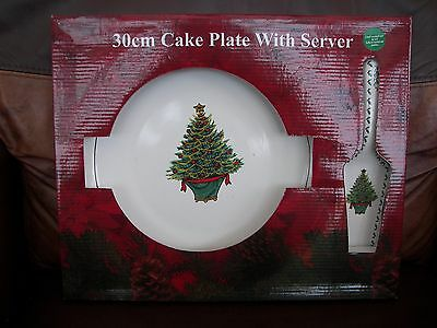 Boxed Large 30 cm Ceramic Christmas Cake Plate with Matching Cake Slice
