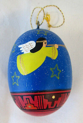 Egg Shaped Angle Trumpet Ornament Hand Painted Christmas Southwest