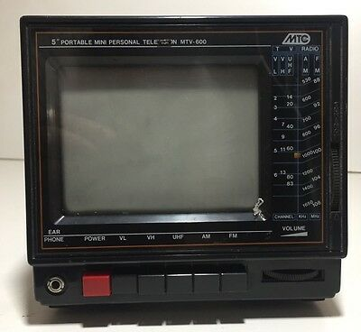 "Retro vintage portable MTC 5"" TV/Radio unit - perfect prop for VW camper etc."