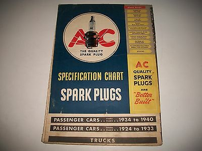1940 Issue 1924-1940 A/c Spark Plug Application Chart Cars Trucks Buses M/cycle