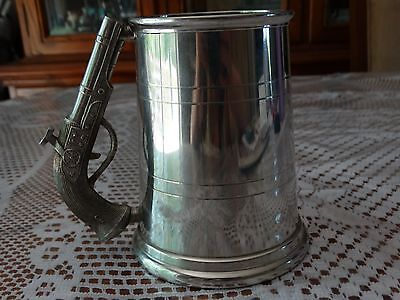Beer Stein With Pistol Handle English Pewter *Rare*