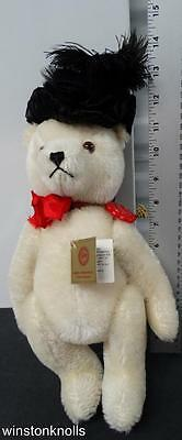 Hermann Mohair White Black Hat Mourning Teddy Bear Red Tag Made In West Germany