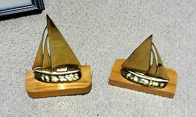 Lot Of Vintage 2 Brass Sailboat Bookends Nautical Decor