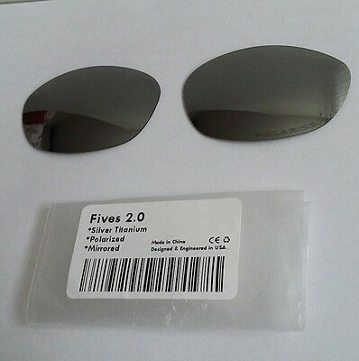 Replacement Lenses for Oakley Fives 2.0 Silver Titanium Mirror Polarized