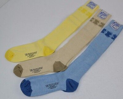 Vtg 70's Lot of 3 prs KNEE-HI SOCKS Soft Orlon BUCKLE 9-11 - Blue/Khaki/Yellow