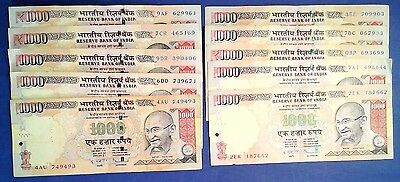INDIA: 10 x 1,000 Rupee Banknotes - Very Fine Condition