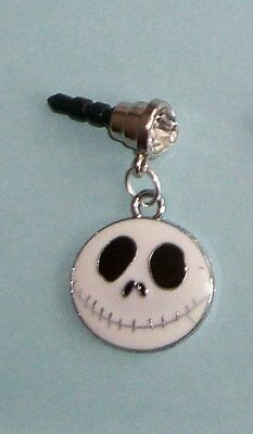 Cell Phone Anti Dust Plug Cover Crystal Dangle Charm Nightmare Before Xmas Face