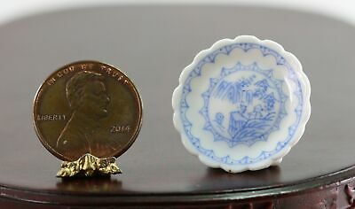 Dollhouse Miniature Eggshell Blue and White Porcelain Plate with Scalloped Edge
