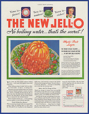 Vintage 1933 New JELL-O No Boiling Orange Jello General Foods Print Ad 30's