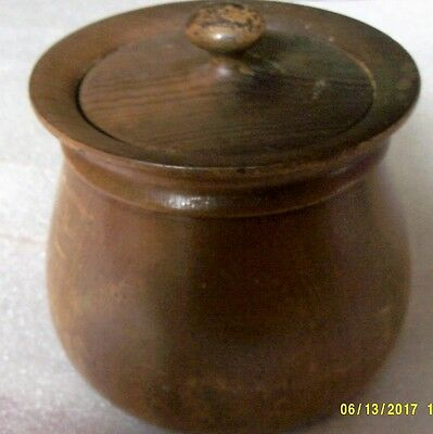 Old wooden tobacco jar with lid