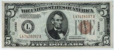 1934 A $5 Silver Certificate WWII Emergency Issue Hawaii Note Item#M098