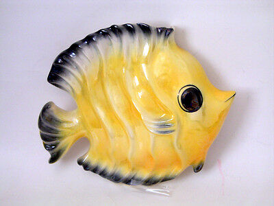 Vintage Ceramicraft Tropic Treasures Fish W/wavy Body Wall Pocket Wall Hanging