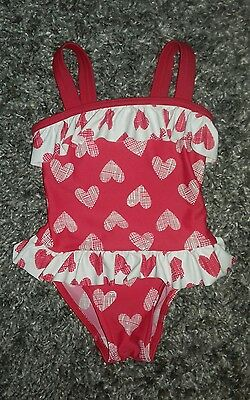 Baby Girls Red and White Swimming Costume George 18-24 months