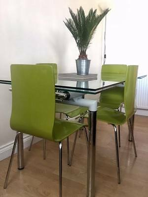 Dwell Glass & Metal Extending Dining Table & 4 Chairs