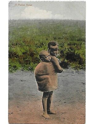 A NATIVE NURSE Early South Africa Ethnic Postcard Children