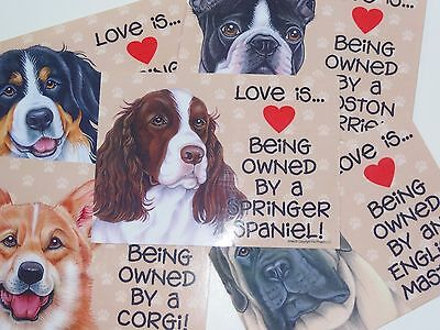 Love is Being Owned By A Dog (You Choose Breed) 5x7 Sign w/ Magnet & Velcro