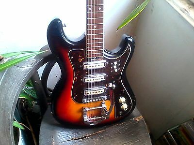 Teisco/ Kawai sunburst one piece hertiecaster guitar