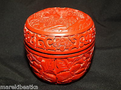 Old  Vintage  Chinese  Red Cinnabar  Carved Lacquer Box