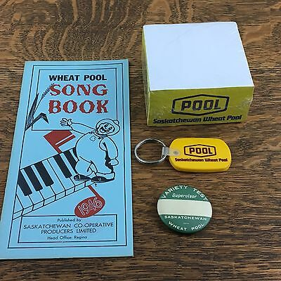 vintage lot SASKATCHEWAN WHEAT POOL Song Book Pin Notepad Keychain