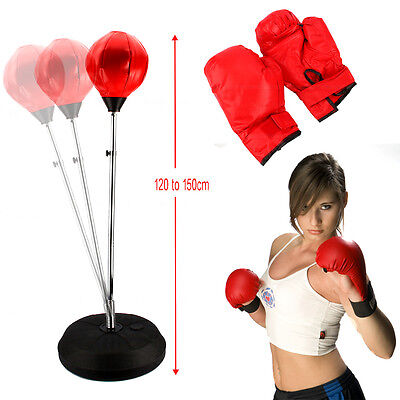 Boxing Free Standing Punch Bag Stand Focus Pads with Gloves Punching Training