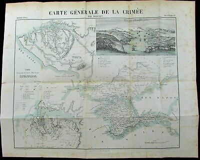 Crimea Sevastopol Russia Ukraine Black Sea c.1855 antique military map city plan