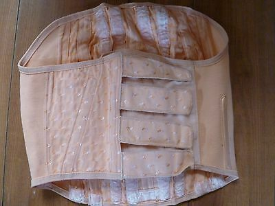 "Vintage Peach Cotton Brocade Extra Firm Corset Fit 14-16 34""-36"" Waist"