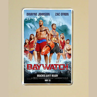 Baywatch - Dwayne Johnson - Zac Efron - Movie Poster Fridge Magnet #1