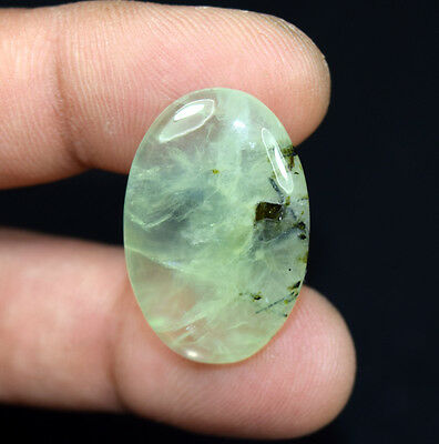 29.05 Cts. 100 % Natural Rutile In Green Prehnite Oval Cab Loose Gemstones