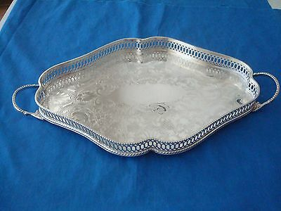 Sheffield~Silverplate~Slotted~Edge~Footed~Handled~Butler's~Tray~Michael~C.~Fina