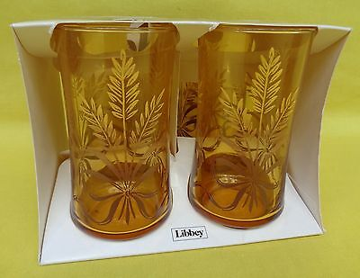 Set of 4 Vintage Libbey Amber Golden Wheat Drinking Glass 12 oz Tumblers NEW