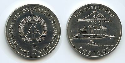 G12865 - DDR 5 Mark 1988 A KM#121 TOP Rostock Überseehafen East Germany