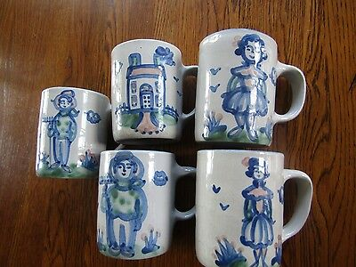 Vintage Signed M.A, Hadley Stoneware Blue/Beige Mugs  YOUR CHOICE $8.00