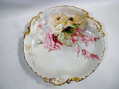Antique LIMOGES Hand Painted PINK Yellow ROSES Bleeding Heart CHARGER Porcelain