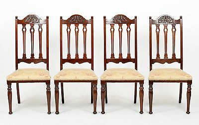 Antique Set of 4 Walnut Carved Art Nouveau Dining Chairs Home Furniture