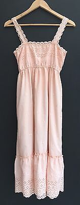 Vintage 70s Peach Broderie Anglaise Poly Cotton Sun Dress 8 10 Small