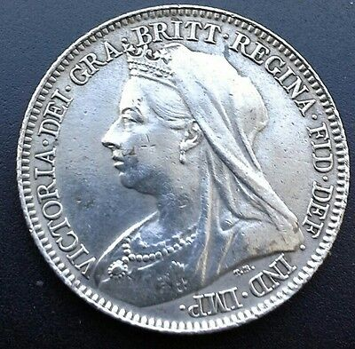 HIGH GRADE 1897 QUEEN VICTORIA  SIXPENCE. (Ref:090)