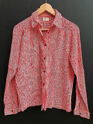 Vintage 60s 70s Daks Red White Abstract Print Cotton Shirt Blouse 10 12 14