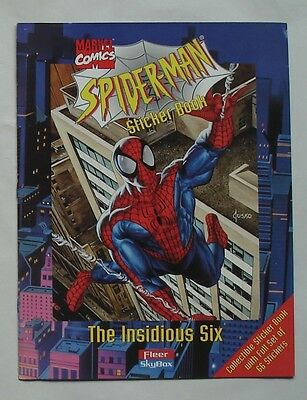 """Fleer Skybox 1996 Spider-Man """"Insidious Six"""" Sticker Album With All Stickers"""