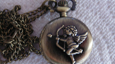 Cupid Angel Coppertone Pocket Watch/PENDANT Montre Cupide Ange