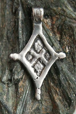 Ancient Viking Ornament Solid Silver Pendant Cross (ARL)